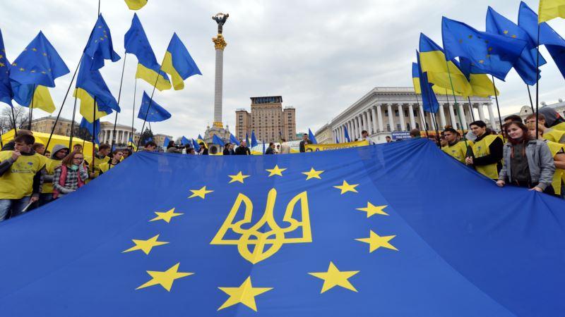 Европейский флаг на Майдане Незалежности